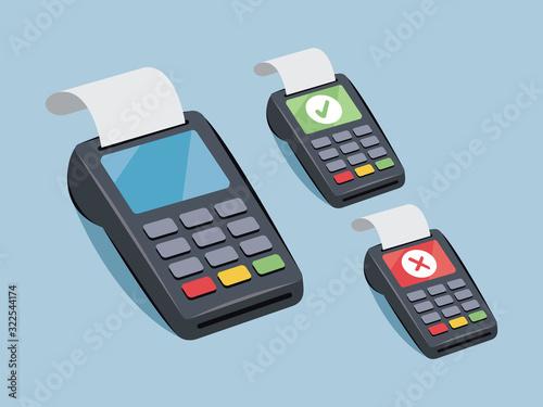 Cuadros en Lienzo Payment terminal - credit card payment - vector cartoon illustration