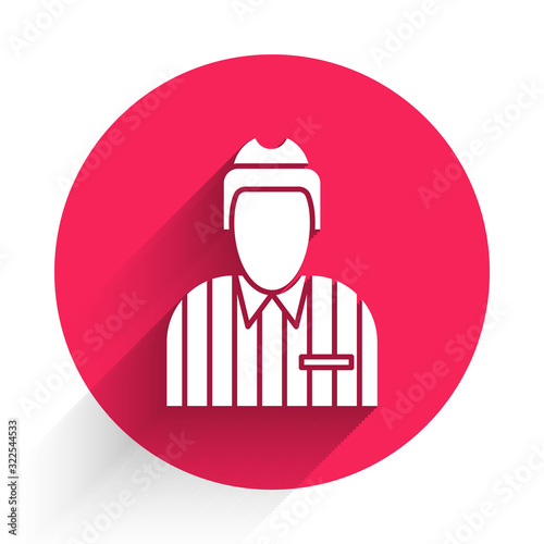 White Hockey judge, referee, arbiter icon isolated with long shadow Wallpaper Mural