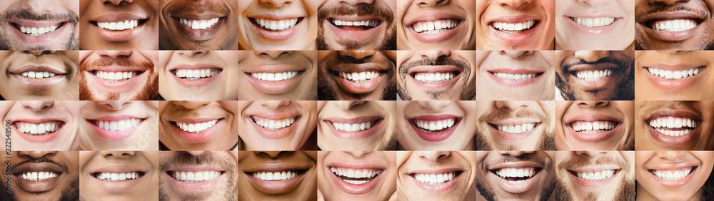 Fototapeta Panoramic collage of multiethnic people white smiles