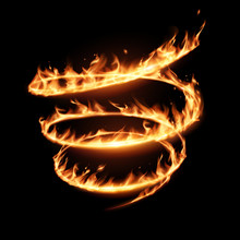 Abstract Flame Spiral Whirl On Black Background