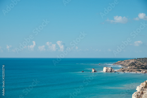 Photo landscape. Aphrodite's Rock on the Mediterranean coast.