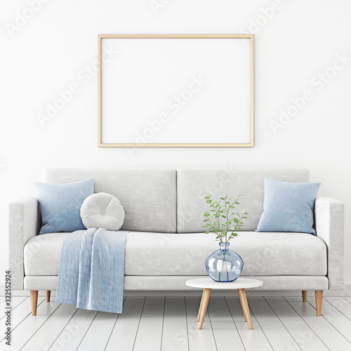 Fototapeta Poster mockup with horizontal frame hanging on the wall in living room interior with sofa, blue plaid and green branches in vase on empty white background. 3D rendering, illustration. obraz