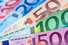 Close Up Of Various Euros Banknotes, Colorful Money Background, European Currency Cash Concept