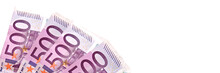 500 Euros Pink Banknotes Isola...