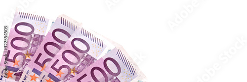 Fotografía 500 euros pink banknotes isolated on white panoramic background, cash money conc