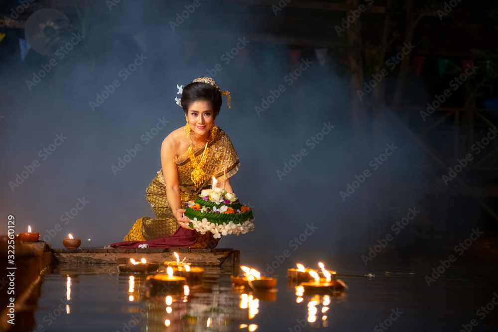Fototapeta Loy Krathong Festival, Loy Krathong Festival is traditionally inherited from ancient times, the blessing of the Thai people.