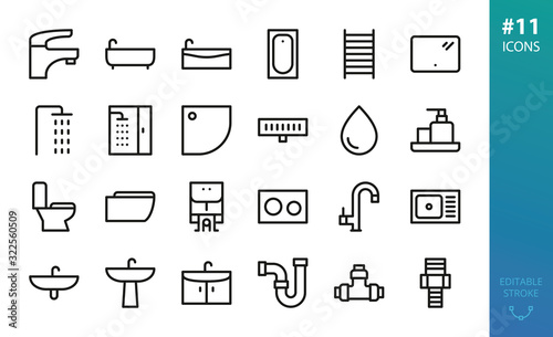 Cuadros en Lienzo Sanitary Ware and Plumbing icons set