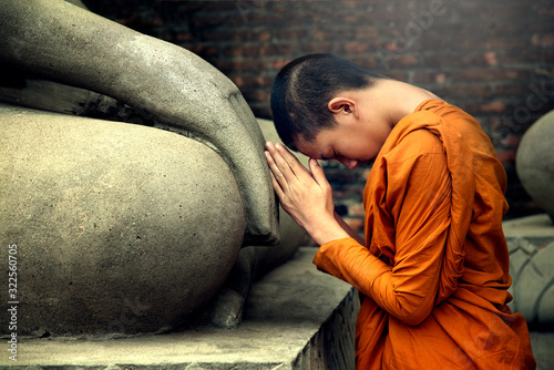 Asia novice monk worship the Buddha with faith Canvas Print