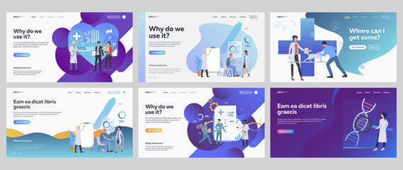 Medical office set. People visiting doctor, veterinary, lab research. Flat vector illustrations. Medicine, examination, healthcare concept for banner, website design or landing web page