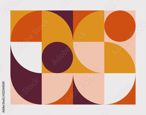 Mid-Century Abstract Vector Pattern Design Tableau sur Toile