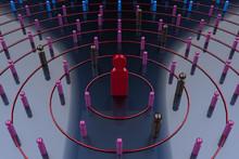 3Dレンダリングによるウイルスの感染拡大を示すイラスト