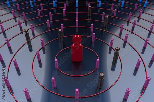 Photo 3Dレンダリングによるウイルスの感染拡大を示すイラスト