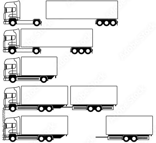 Truck - trailer - Truck monochrome with semi trailer - set - package - shape - s Canvas Print