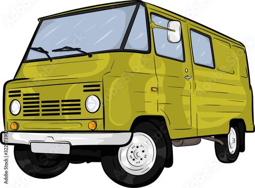 polski klasyk,samochód, kreskówkowy samochód,prl,żuk,cartoon car Fototapeta