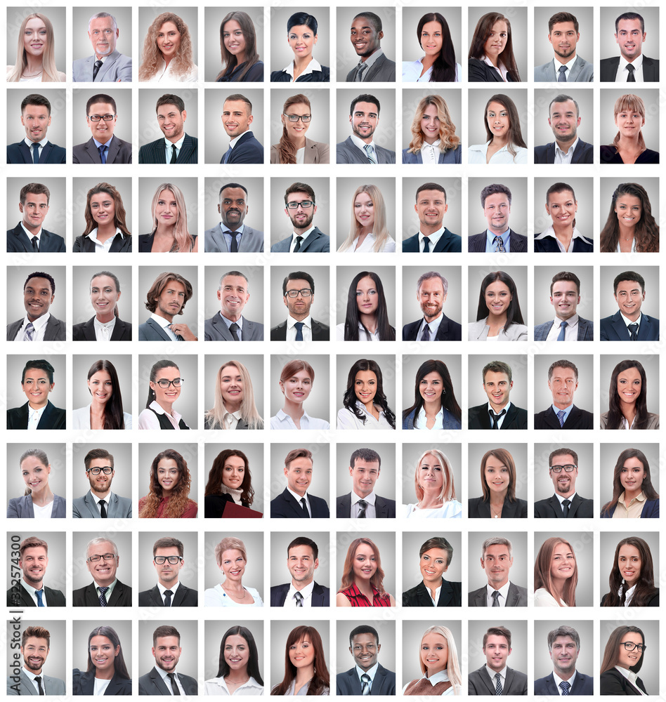 Fototapeta portraits of a group of successful employees isolated on white