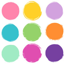 Set Of Round Vector Shapes In Bright Colors, Abstract Graphic Design Elements For Package And Product Design, Banners And Buttons