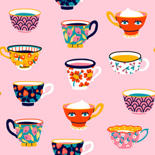 Set Of Various Cups With Tea O...