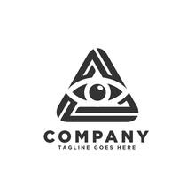 Eye In The Triangle. All Seeing Eye Symbol, Illuminati Symbol, Eye In A Pyramid Vector Illustration