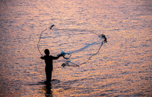 The Fisherman Cast A Net The Sea In The Morning, At Sunrise, Songkhla Province, Thailand Country