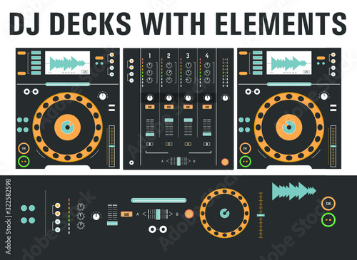 Dj cd decks with isolated elements Wallpaper Mural