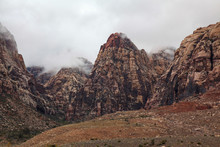 View Of Mountain Red Rock Canyon National Park In Foggy Day At Nevada,USA.