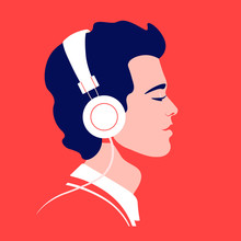 Young Man Listen To Music On H...