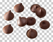 Chocolate Chips Morsels Close Up  On Isolated Background. Including Clipping Path