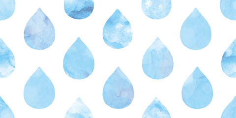 Watercolor water drops background. Seamless pattern.Vector. 水彩水滴パターン