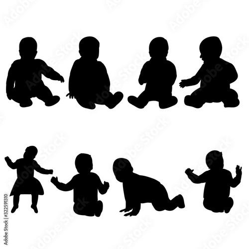 Obraz vector, isolated, black silhouette baby, set - fototapety do salonu