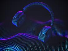 3D Headphones On Sound Wave Ba...