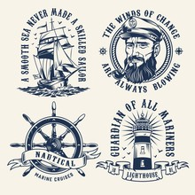 Vintage Nautical Monochrome La...