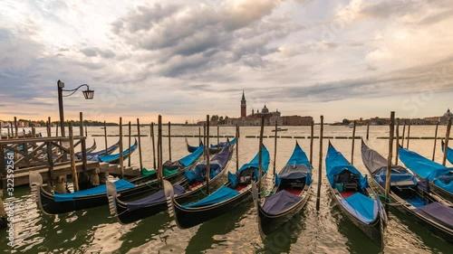 Fotografie, Obraz Venice Italy time lapse 4K, city skyline sunrise timelapse with Gondola boat