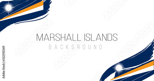 Photo Marshall islands flag brush style background with stripes