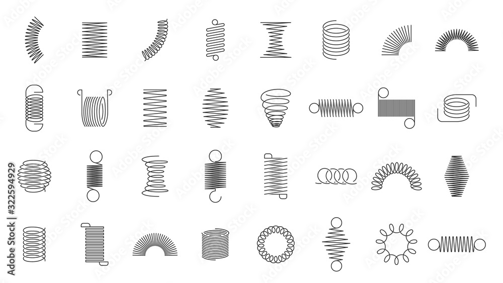Fototapeta Spring coils. Metal spiral spring, car motor coil swirls silhouette, wire springs, metallic flexible coils and line steel curved spiral isolated vector icons set. black steel helix, suspension symbols
