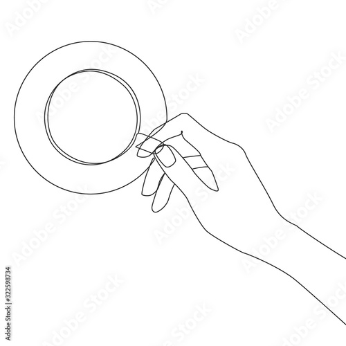 Fototapeta Hand holds a cup of coffee one line drawing on white isolated background. Vector illustration  obraz na płótnie