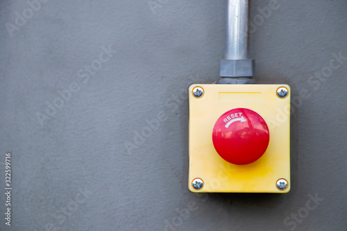 Red Reset button on the wall Canvas Print