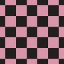 Seamless Geometric Pattern Of Staggered Black And Pink Squares, Vector Illustration.