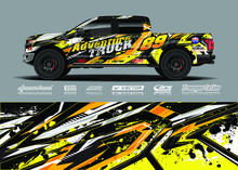 Truck Wrap Design Vector Illustration. Modern Sport Graphics. Abstract Stripe Racing And Grunge Background For Wrap All Vehicle, Race Car, Rally, Adventure Vehicle And Car Livery.