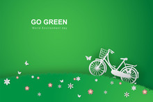 Paper Art Of Green Background With Bicycle In The Field Flower Garden Park.Go Green World Environment Day Template.Creative Ecology Graphic Concept.Lifestyle Nature Plant.vector Illustration EPS10
