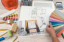 The Designer Chooses The Perfect Color For A New Apartment. Sketch Of A Modern Apartment.
