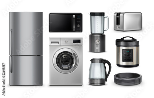 Photo Vector realistic set of household and kitchen appliances isolated on white background