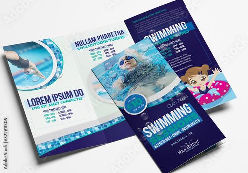 Fototapeta Trifold Brochure Layout for Swimming Lessons obraz