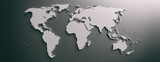 World map flat, blank continents against gray background. 3d illustration