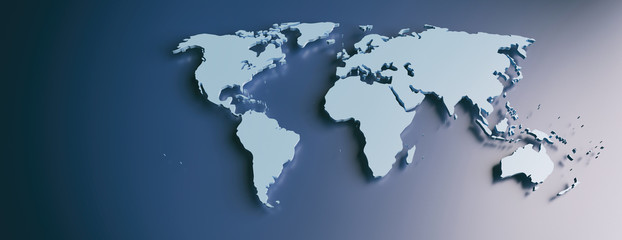 World map flat, blank continents against blue background. 3d illustration