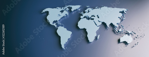 Fototapeta World map flat, blank continents against blue background. 3d illustration obraz