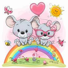 Cute Cartoon Mouses Are Sittin...