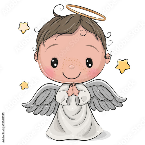 Photo Cartoon Christmas angel boy isolated on white background