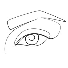 Eye Of A Young Woman One Line Drawing On White Isolated Background. Vector Illustration