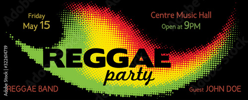 Photo Template for Reggae Party flyer. Vector. CMYK colors
