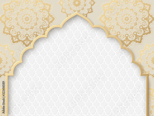 Vector ornate frame with indian or arabesque motif Canvas Print